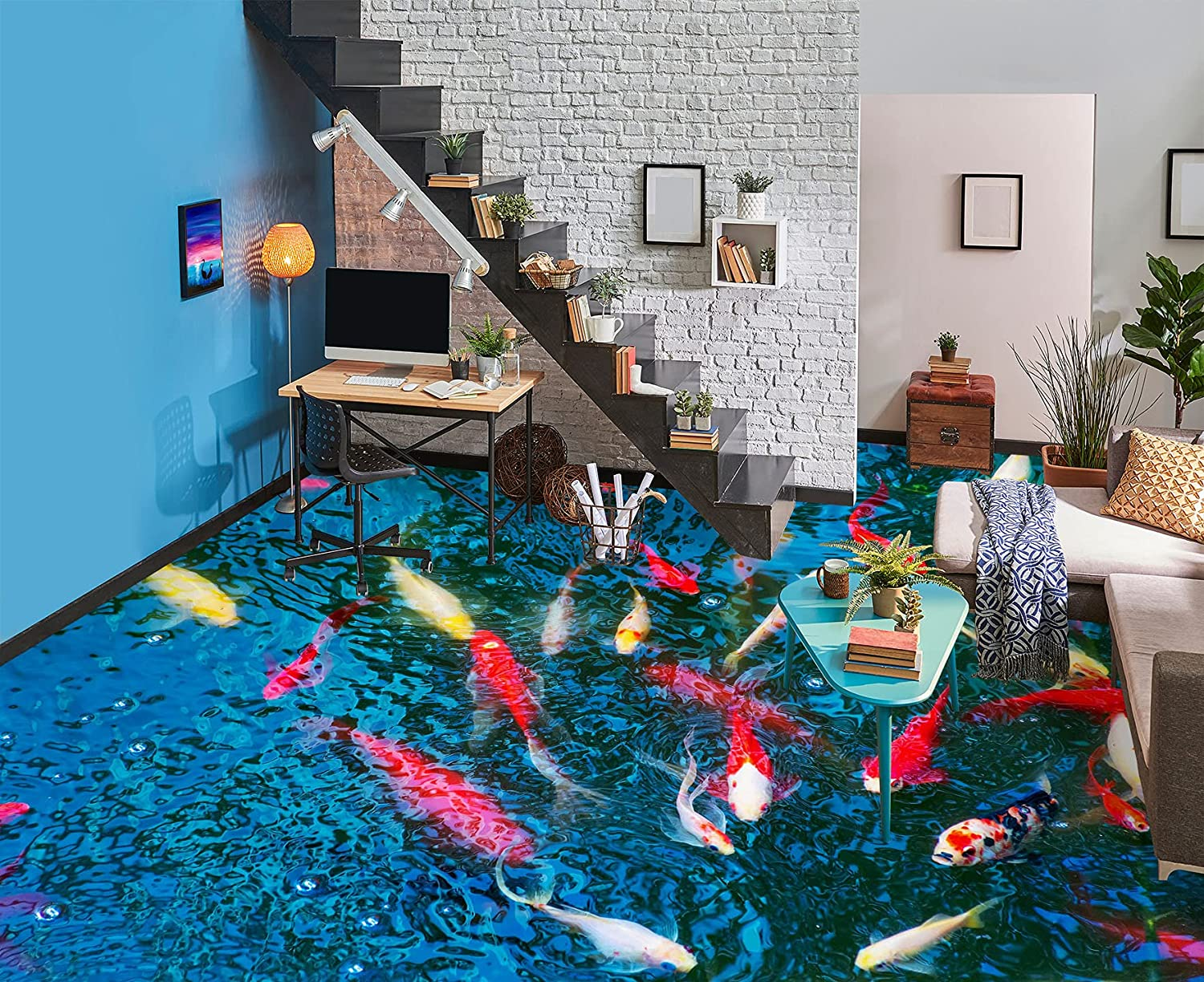 3D Goldfish Pond 8532 Floor Wallpaper Ranking TOP20 Wall Decal Easy-to-use AJ Murals Print