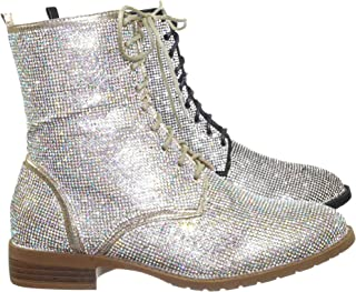 Rhinestone Crystal Combat Boots - Womens Embellished Lace Up Military