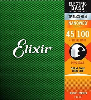 Elixir Strings Stainless Steel 4-String Bass Strings w NANOWEB Coating, Long Scale, Light (.045-.100)