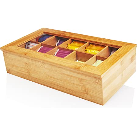 Lumaland Cuisine Boîte à thé en Bambou avec 10 Compartiments aprox 36,7 x 20 x 9 cm matériel Durable Pratique et décoratif