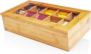 comprar comparacion Lumaland Cuisine Caja de té de bambú con 10 Compartimentos de Aprox 36,7 x 20 x 9 cm Material sostenible práctico y Decora...