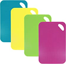 QH-Shop Tablas de Cortar de Plástico, Conjuntos de Tablas para Picar Flexibles Vistoso Antibacterial Antiadherente para Carne Pescado Vegetales Comida Cocinada & Extra 4 Juegos