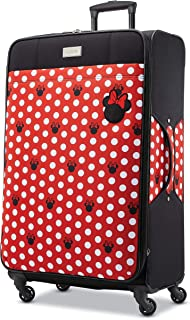 American Tourister Kids' Disney Minnie Mouse Dots Softside Checked Luggage with Spinner Wheels, Black/Red