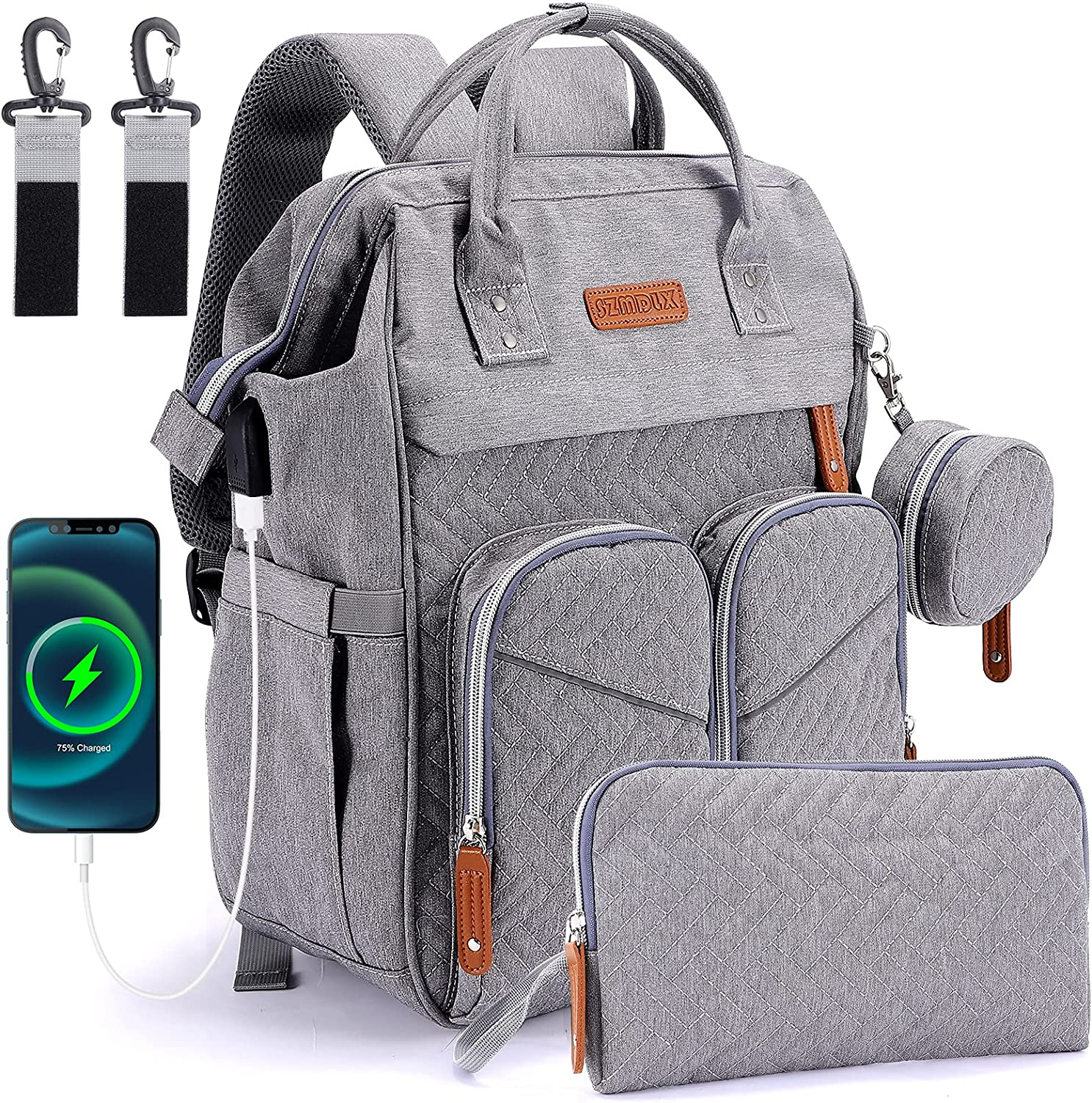 Diaper Bag Backpack, Foldable Mummy Bag with Charging Port, Multi-Functional Baby Backpack,Diaper Bag with Bassinet Mat Pad for Dad Mom Travel Waterproof (Grey)
