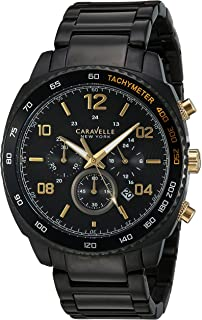Caravelle New York Men's Quartz Watch with Stainless-Steel Strap, Black (Model: 45B146)