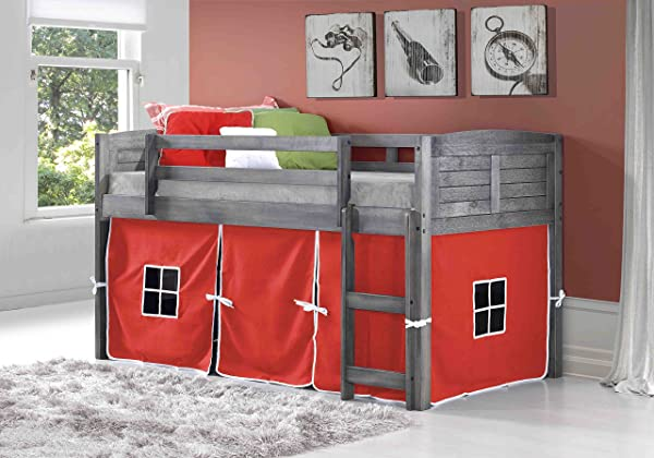 DONCO KIDS 790AAG 750C TR Louver Low Loft Bed With Camo Tent Twin Antique Grey