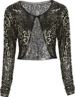 39447b0724b PrettyGuide Women Sequin Bolero Long Sleeve Sparkly Wedding Shrug Cardigan
