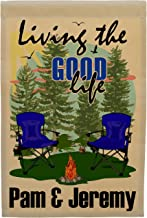 Happy Camper World Living The Good Life Personalized Weatherproof Campsite Flag (Tan Fabric, Blue)