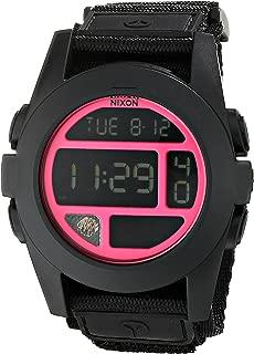 A489480 Baja Black Bright Pink Chrono Digital Dial Nylon Band Men Watch