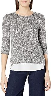 A. Byer Women's 2-fer Shirt Tale Top