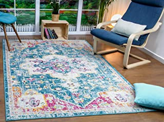 Antep Rugs Elite Collection Bohemian Distressed (DSG66) Indoor Area Rug (Blue, 5' x 8')