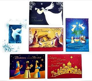 36 Religious Spanish Christmas Holiday Boxed Cards -Xmas Box Set Assortment - With Envelopes And Religious Sentiment - 36 Tarjetas Religiosas Españolas Navideñas en Caja Con Sobres y Sentimiento