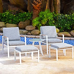 Sunnyfeel 5 Piece Outdoor Patio Furniture Set, Metal Patio Conversation Sets with Soft Padded Cushions Lounge Chair & Ottomans, Small Side Table, Bistro Set for Porch/Backyard/Pool/Garden/Lawn (Grey)