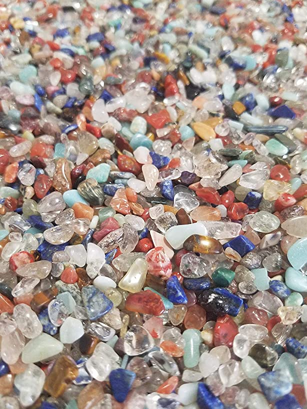 JM 1.1 lb Mixed Nature Stones & Crystal (3mm-12mm) Tumbled Chips Gemstone Crushed Pieces Irregular Shaped Jewelry Making Home Crafts Projects Flower Pot Fish Tank Decoration Gift