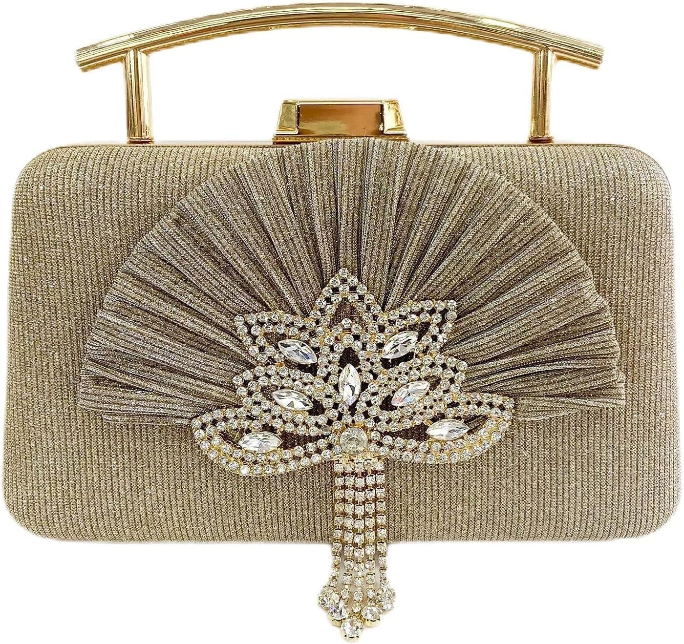 Women's Evening Handbags Women's Shiny Ruffled Handbag Metal Banquet Bag Single Shoulder Strap Diamond Dress Small Square Bag (Color : Gold)