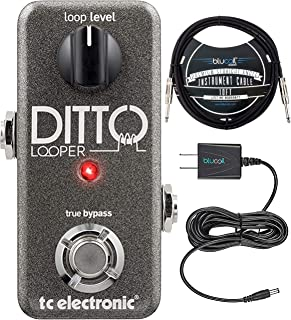 TC Electronic Ditto Looper Pedal with True Bypass Bundle with Blucoil Slim 9V 670ma Power Supply AC Adapter and Blucoil 10-FT Mono Instrument Cable