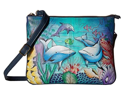 Anuschka Handbags 570 Triple Compartment Crossbody (Dolphin World) Handbags