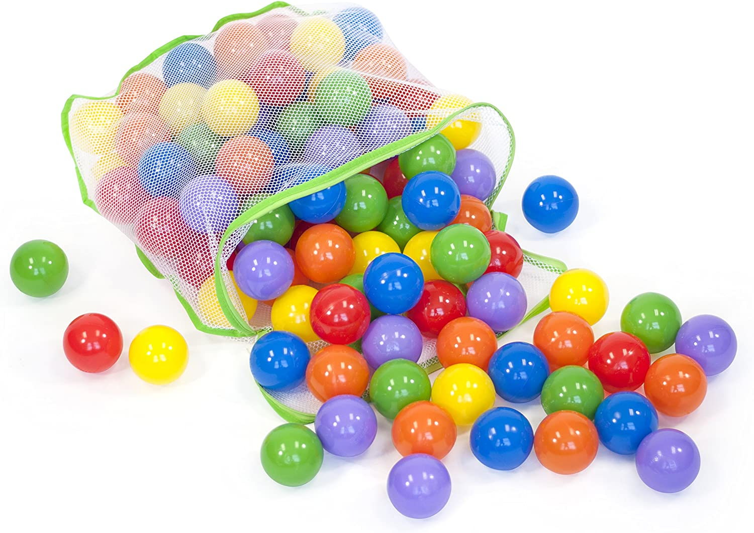 100 colorful Wonder Playballs Safe & Non-Toxic w Storage Tote