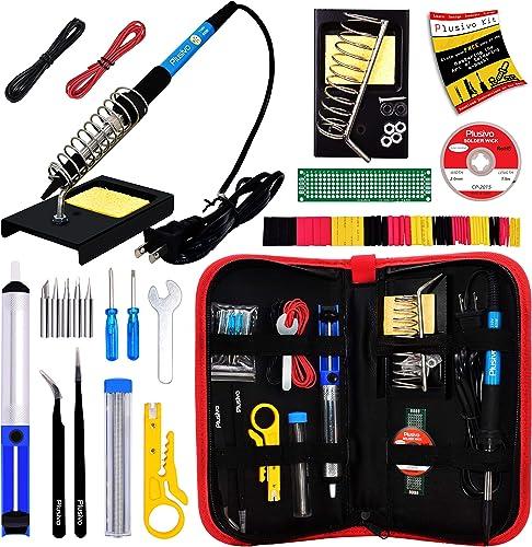 Soldering Iron Kit - Soldering Iron 60 W Adjustable Temperature, Solder Wire, Tweezers, Soldering Iron Stand, Solderi...
