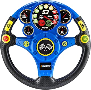 NASCAR Racing Wheel Rev N Roll Steering Wheel for Kids Toys, Boy Games Sound Effects Light Up Display Ages 3 Up Toddlers