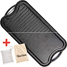 Uno Casa Cast Iron Griddle Grill Pan for Stove Top - 20x10 Inch Pre-Seasoned Camping Griddle with Chainmail Cleaner