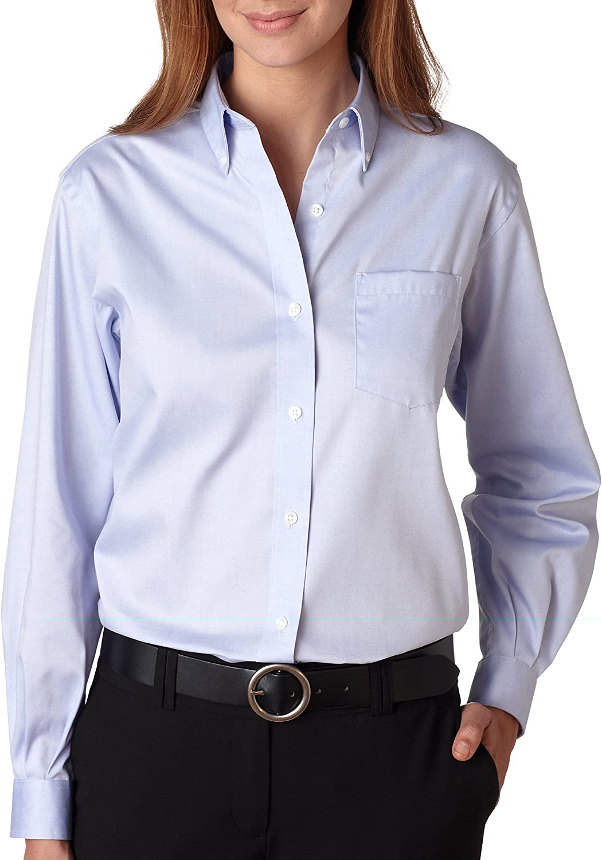 Van Heusen V0110 Ladies' Long-Sleeve Blended Pinpoint Oxford