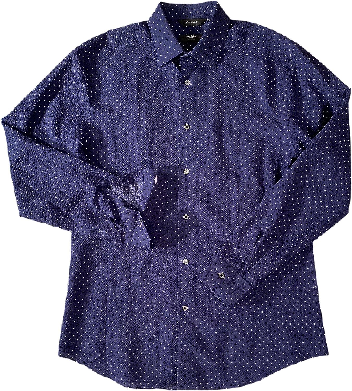 Paul Smith Men's The Byard Navy W/White Polka DOTS Seersucker L/S Dress Shirt 15.5/39