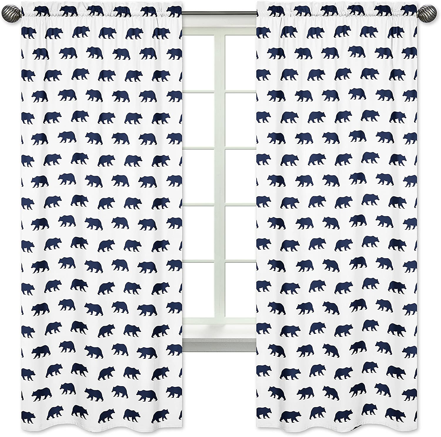 Sweet Jojo Designs 2-Piece Navy bluee and White Window Treatment Panels Curtains for Big Bear Collection by