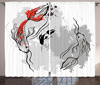 Japanese Decor Curtains by Ambesonne, Aesthetic Digital Motley Fluctuate Setting of Super Koi Ink Marine Theme, Window Drapes 2 Panel Set for Living Room Bedroom, 108 X 84 Inches, Orange and Grey