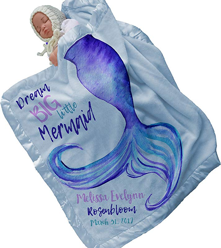 Personalized Mermaid Tail Baby Blanket 30x40 Light Blue Satin Trim Baby Bedding Special Gifts For New Baby Room Nursery Newborn