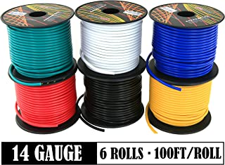 14 Gauge Flexible Copper Clad Aluminum Low Voltage Primary Wire 6 Color Set, 100ft roll (600 ft Total) for 12 Volt Automotive Trailer Harness Car Audio Video Wiring