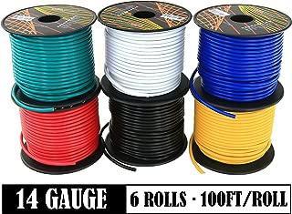 14 号铜包铝制绞线灵活主电线分类包装,304.8 米卷,适用于汽车立体声 12 伏仪表板*带拖车灯线。 2、6、7卷彩色组合14GA100-6 6 Color set 600 ft