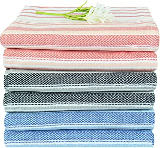 COTTON CRAFT - 6 Pack - 100% Pure Cotton- Multi - 40x70 in - Fouta Premium Bath Towel - Ideal for Everyday Use - Easy Care Machine Wash