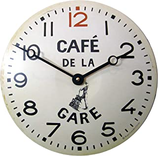 Roger Lascelles CT/GARE Convex Tin Clock, Café De La Gare Design, 11-Inch French Kitchen Clock