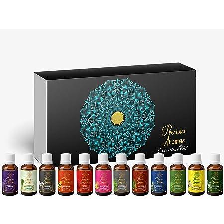 Precious Aromas Essential Oil Lavender Rose Tea Tree Rosemary Jasmine YlangYlang Eucalyptus Mandarin Lemongrass Peppermint lemon citronella Pack of 12