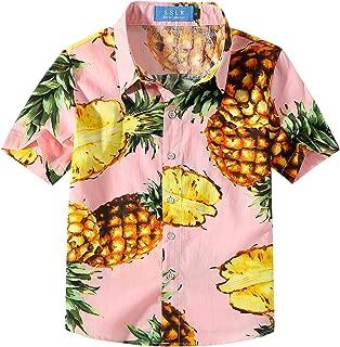 Big Boy's Pineapple Holiday Short Sleeve Aloha Hawaiian Shirts