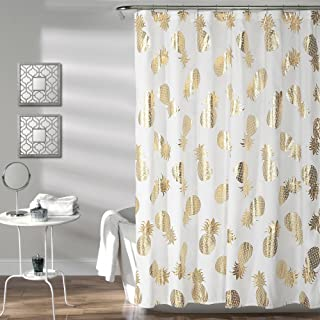Lush Decor Pineapple Toss Shower Curtain 72 X Gold