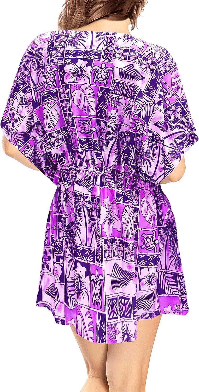 LA LEELA Women's Paisley Print Swimwear Cover Up Bikini Beachwear Summer Dress H