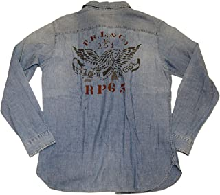 Polo Mens Jean Denim Vintage Moto Eagle Casual Shirt Blue Red Large