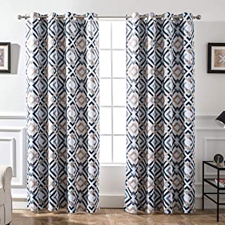 DriftAway Diamond Trellis Watercolor Geometric Checker Plaid Pattern Blackout Room Darkening Unlined Thermal Insulated Grommet Window Curtains Set 2 Panels Each Size 52 Inch by 84 Inch Navy