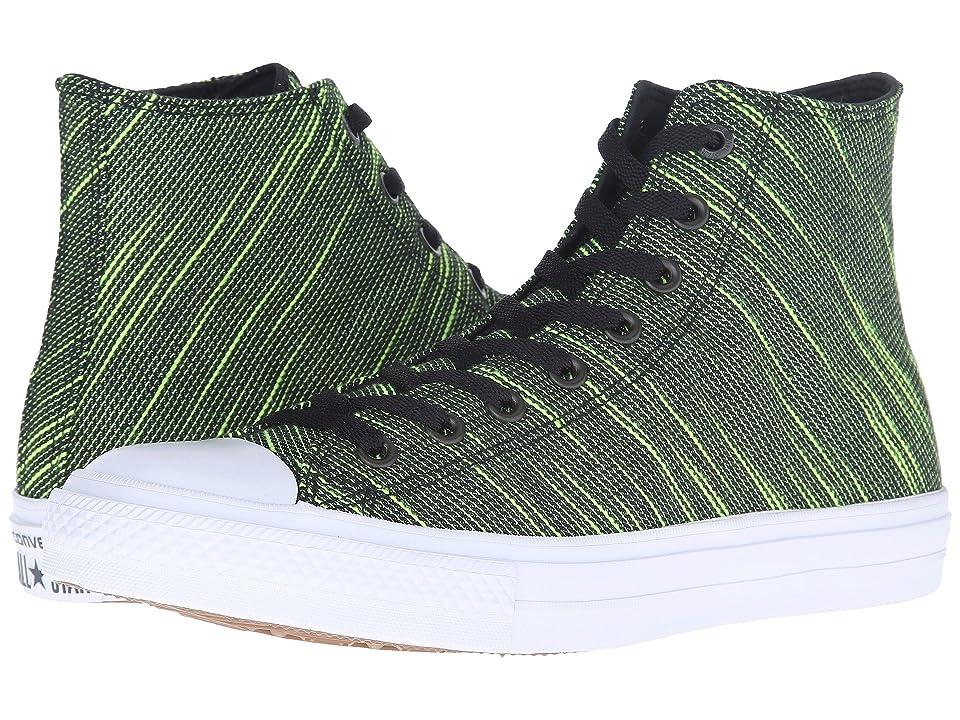 Converse Chuck Taylor(r) All Star(r) II Knit Hi (Black/Volt Green/White Textile) Athletic Shoes