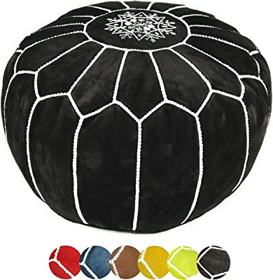 Moroccan suede Leather Pouf - Versatile Hassock & Decorative Ottoman Footstool for Bohemian Living Room - Uses Natural Materials Crafted with Long lasting functionality UNSTUFFED (Black)