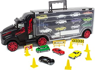 Boley 22Piece Mighty Truck Carrier - Big Rig Hauler Truck Transport with Slots for Car Transport - Great for Kids, Toddlers, Children - Boys & Girls Cars & Trucks Toys, Multicolor