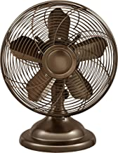 Optimus F-6212 Oscillating Antique Table Fan, 12-Inch, Bronze
