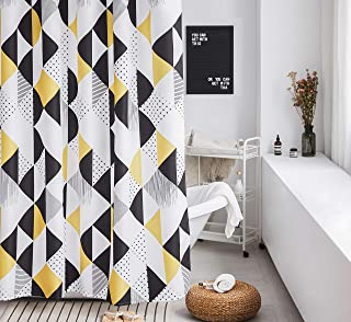 Shower Curtain Set White Geometric Bathroom Fabric Shower Curtain Heavy Duty Curtains for Bathtubs Colorful Cute,72 by72 Inch (White/Black/Yellow)