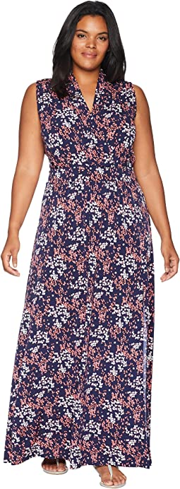 Plus Size Scatter Blooms Slit Maxi Dress