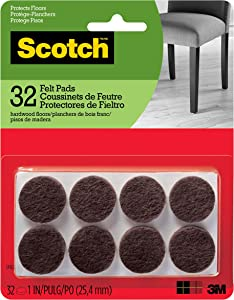 Scotch Felt Pads, Felt Furniture Pads for Protecting Hardwood Floors, Round, 1 in. Diameter, Brown, 32 Pads