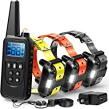 F-color Dog Training Collar, Range 2600ft Dog Shock Collar with Remote Rechargeable Waterproof with 4 Modes Light Beep Vibrating Shock Collar for Medium Large Dogs Breed, 3 Pack