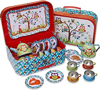 Woodland Animals Metal Tea Set & Carry Case Toy (14 Piece Tea Set for Children) Red, Blue, Green Tea Set Toy