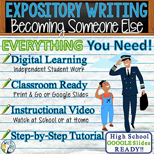 Expository Writing Essay - Distance Learning, Independent Student Instruction, In Class Lesson, Instructional Video, PPT, Worksheets, Rubric, Graphic Organizer, Google Slides - Becoming Someone Else